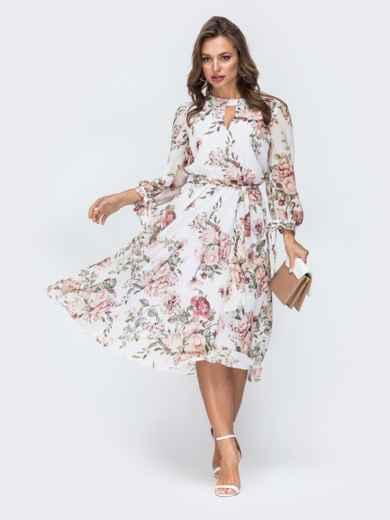 """Белое шифоновое платье-миди с вырезом """"капля"""" 45459, фото 1"""