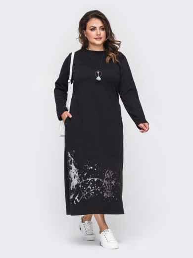 Черное платье батал с карманами и принтом на полочке 50907, фото 2