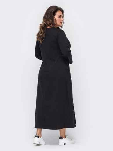 Черное платье батал с карманами и принтом на полочке 50907, фото 3