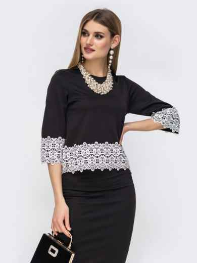 Чёрный комплект из юбки и кофты с кружевом по низу 42623, фото 3