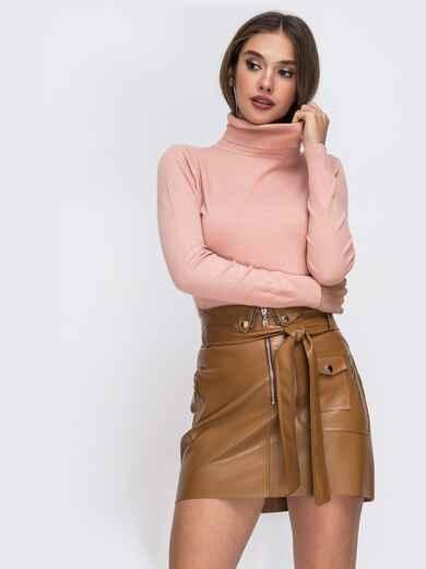 Гольф цвета пудра из трикотажа с высоким воротником - 42090, фото 1 – интернет-магазин Dressa