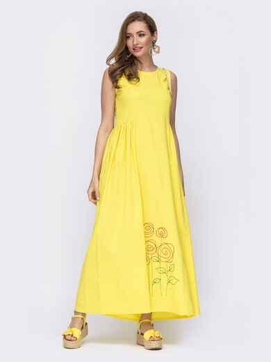 Льняное платье приталенного кроя с вышивской по низу желтое 46741, фото 1
