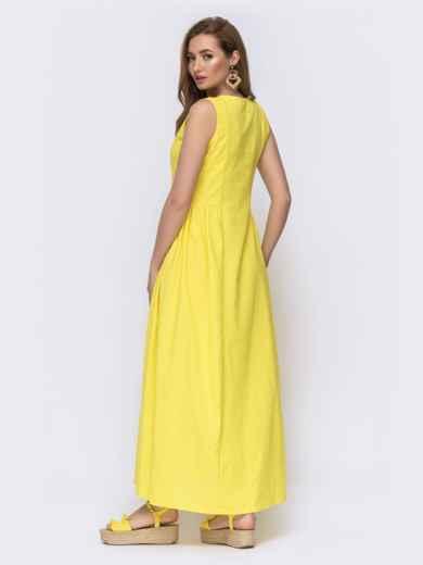Льняное платье приталенного кроя с вышивской по низу желтое 46741, фото 2