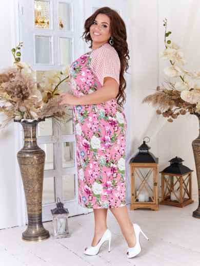 Платье батал с принтом и рукавом-реглан розовое 47715, фото 2