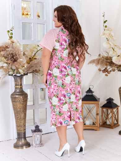 Платье батал с принтом и рукавом-реглан розовое 47715, фото 3