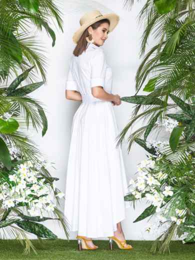 Платье-макси с удлиненной спинкой белое 21955, фото 2