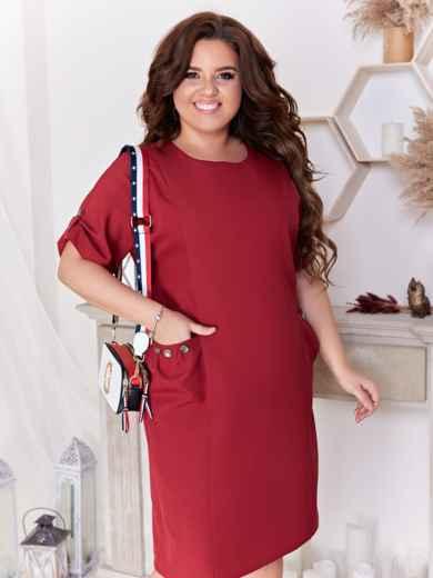 Приталенное платье батал с карманами бордовое 47711, фото 3