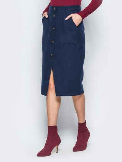 Прямая юбка тёмно-синего цвета из кашемира 17389, фото 1