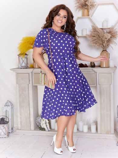 Расклешенное платье батал в горох фиолетовое 47702, фото 1