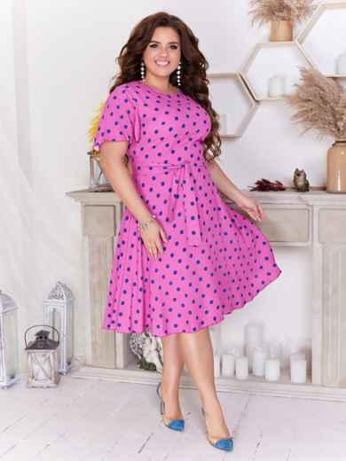Расклешенное платье батал в горох розовое 47703, фото 1