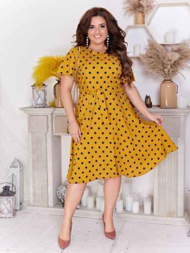 Расклешенное платье батал в горох желтое 47704, фото 1