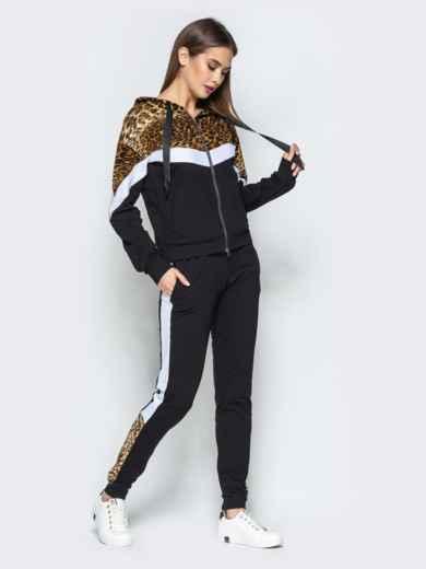 Спортивный костюм с леопардовым принтом на кофте чёрный - 25744, фото 2 – интернет-магазин Dressa