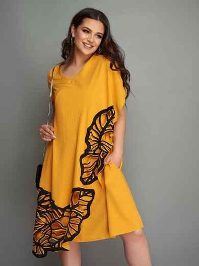 Свободное платье большого размера с перфорацией желтое 49288, фото 1