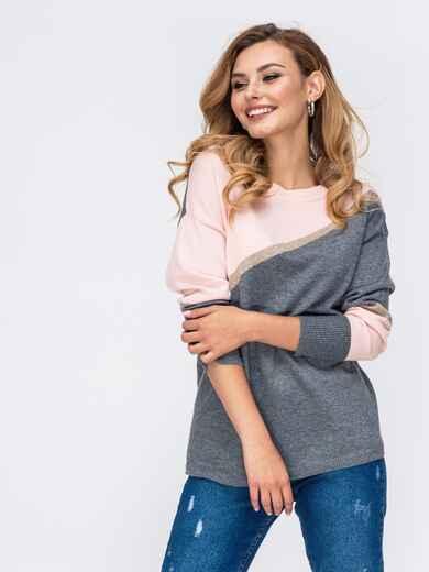 Трикотажный джемпер со спущенной линией плеч серый - 42545, фото 1 – интернет-магазин Dressa