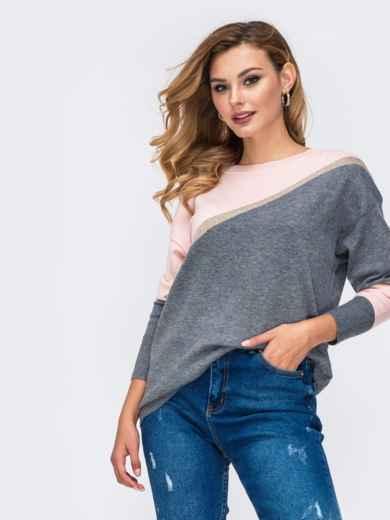 Трикотажный джемпер со спущенной линией плеч серый - 42545, фото 2 – интернет-магазин Dressa