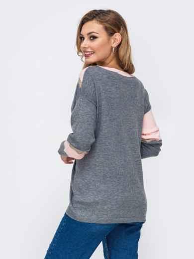 Трикотажный джемпер со спущенной линией плеч серый - 42545, фото 3 – интернет-магазин Dressa