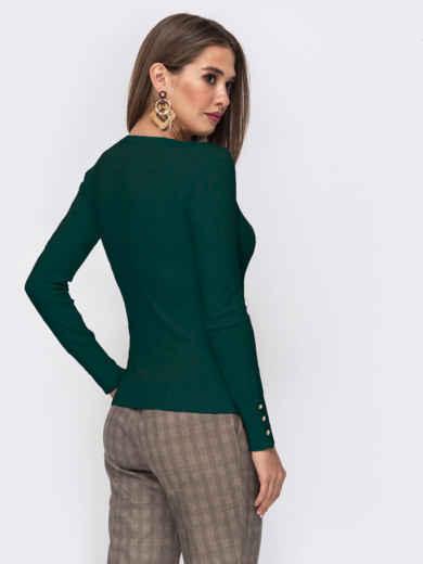 Зелёный джемпер из трикотажа с круглым вырезом - 42549, фото 2 – интернет-магазин Dressa