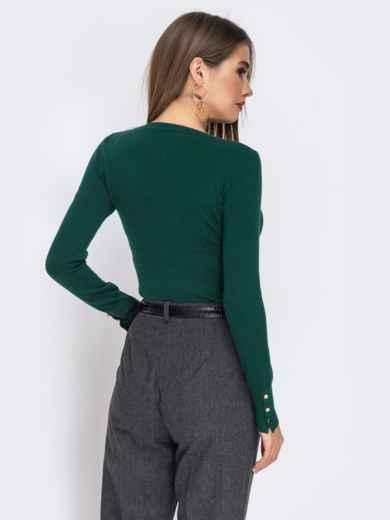 Зелёный джемпер из трикотажа с круглым вырезом - 42549, фото 3 – интернет-магазин Dressa