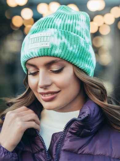 Демісезонна шапка-біні з принтом тай-дай зелена 55327, фото 1