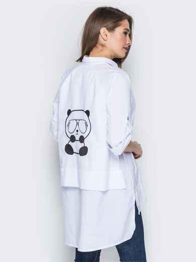 """Белая рубашка с вышивкой на спинке """"панда"""" 19387, фото 1"""