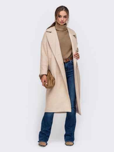 Демисезонное пальто со спущенной линией плеч бежевое 50252, фото 2