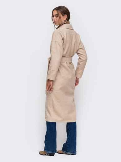 Демисезонное пальто со спущенной линией плеч бежевое 50252, фото 3