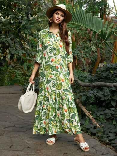 Длинное платье-рубашка из штапеля с принтом зеленое 53675, фото 1