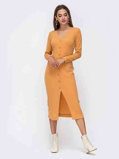 Обтягивающее платье из трикотажа с нитью люрекса горчичное 41741, фото 1