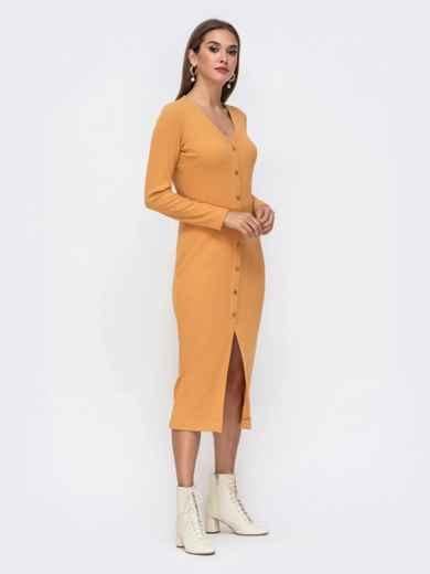 Обтягивающее платье из трикотажа с нитью люрекса горчичное 41741, фото 3
