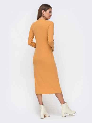 Обтягивающее платье из трикотажа с нитью люрекса горчичное 41741, фото 4