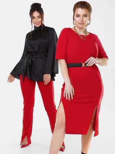 Платье батал с разрезами спереди красное 53627, фото 1