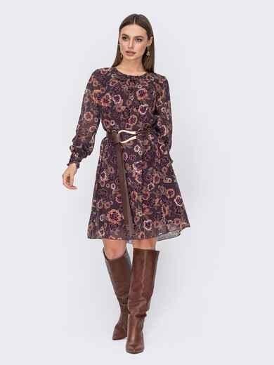 Шифоновоеплатьекоричневогоцветасцветочнымпринтом 52692, фото 1