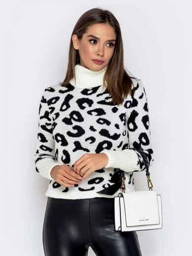 Вязаный свитер с анималистичным узором белый 41140, фото 1