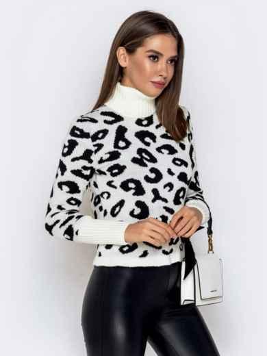 Вязаный свитер с анималистичным узором белый 41140, фото 2