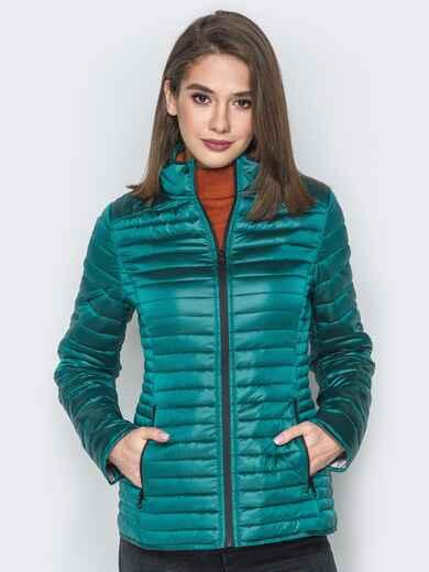 Зелёная куртка с воротником-стойкой и карманами 20288, фото 1