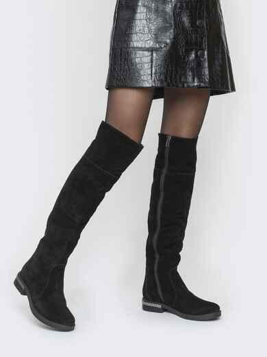 Зимние сапоги из натуральной замши чёрные - 41643, фото 1 – интернет-магазин Dressa