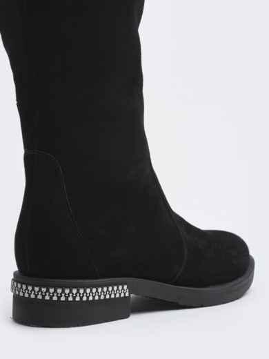 Зимние сапоги из натуральной замши чёрные - 41643, фото 2 – интернет-магазин Dressa