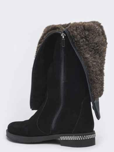 Зимние сапоги из натуральной замши чёрные - 41643, фото 3 – интернет-магазин Dressa