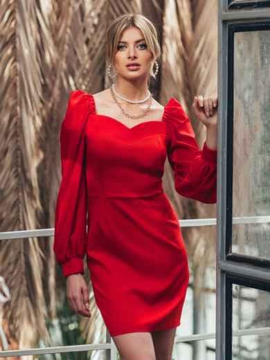 Красное платье-футляр с фигурным вырезом 45678, фото 1