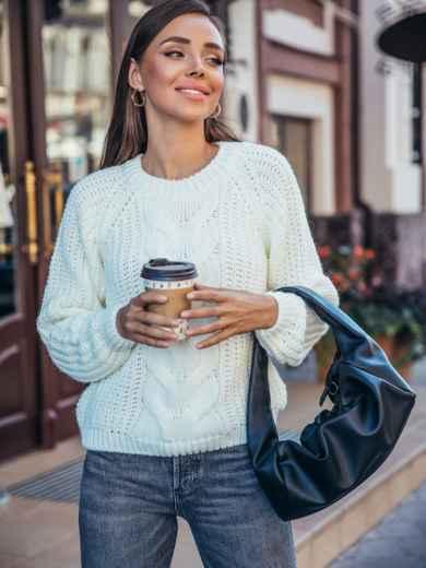 Вязаный свитер молочного цвета с рукавом реглан 55157, фото 1
