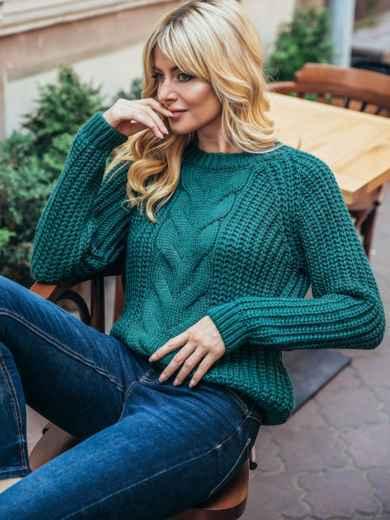 Вязаный свитер бутылочного цвета с рукавом реглан 55159, фото 1
