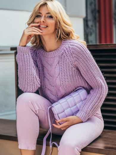 Вязаный свитер сиреневого цвета с рукавом реглан 55160, фото 1