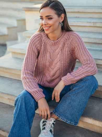 Вязаный свитер пудровго цвета с рукавом реглан 55161, фото 1