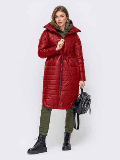 Удлиненная куртка с разрезами по бокам красная 51775, фото 1