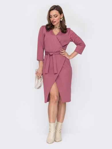 Розовое платье на запах с поясом 53322, фото 1