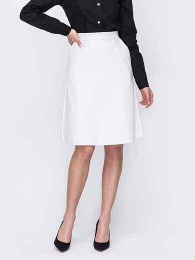 Белая юбка-трапеция из экокожи 53325, фото 1