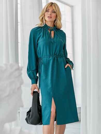 Бирюзовое платье с рукавом-реглан и разрезом спереди 50081, фото 1