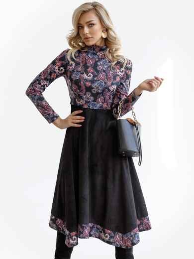 Комбинированное платье с принтом и асимметричной юбкой черное 52874, фото 1
