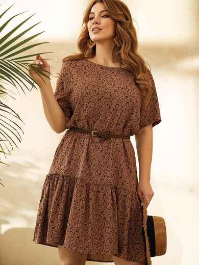 Коричневое платье-футболка большого размера с воланом 53817, фото 1