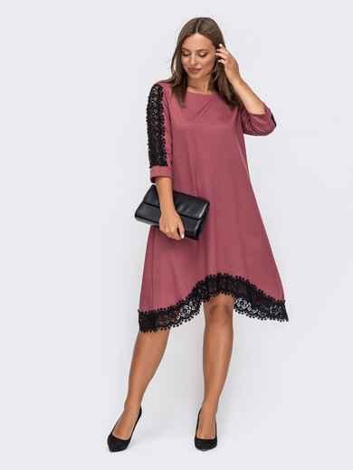 Платье-трапеция с асимметричным подолом розовое 50805, фото 1